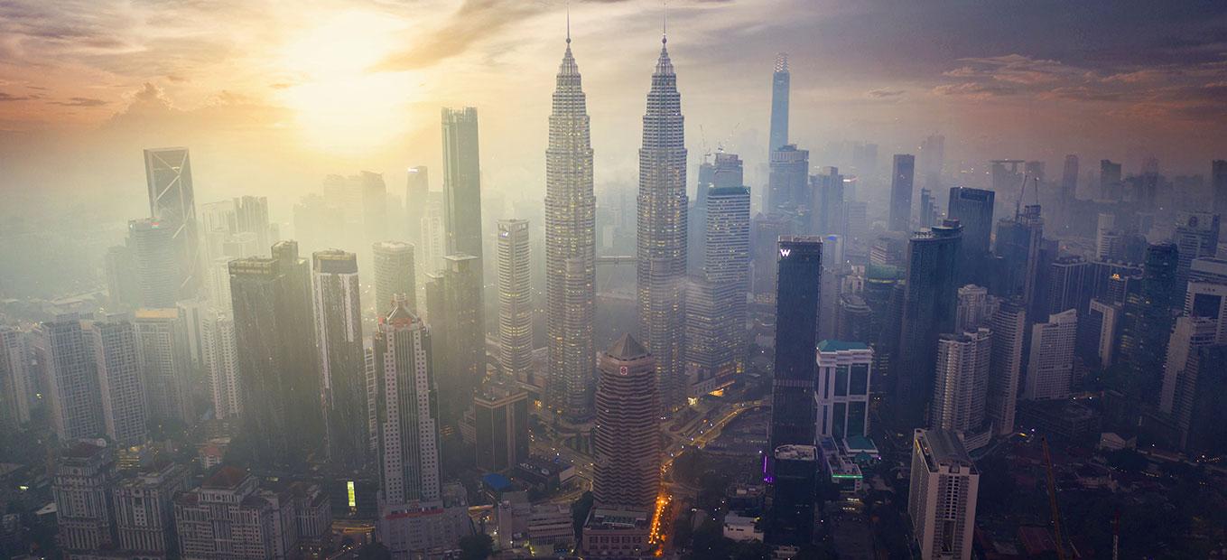 Misty Kuala Lumpur cityscape